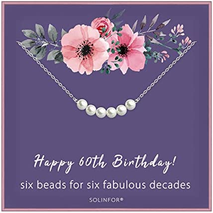 60th Birthday Gifts for Women Sterling Silver Necklace Six Pearls for Her 6 Decades 60 Years product image