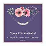 60th Birthday Gifts for Women - Sterling Silver Necklace Six Pearls for Her 6 Decades - 60 Years Old Jewelry Gift Idea