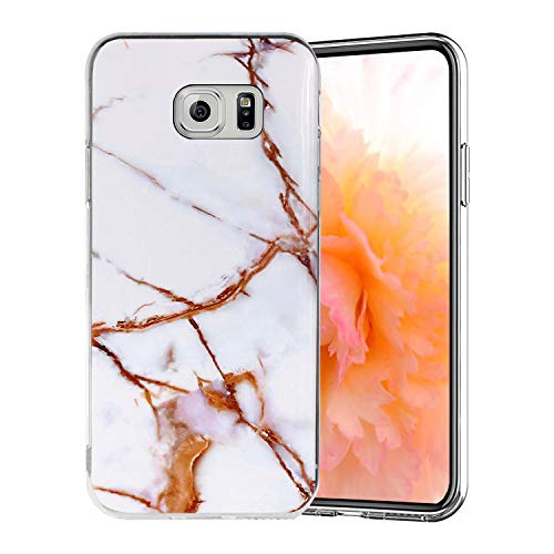 Misstars Coque en Silicone pour Galaxy S6 Marbre, Ultra Mince TPU Souple Flexible Housse Etui de Protection Anti-Choc Anti-Rayures pour Samsung Galaxy S6, Blanc Or