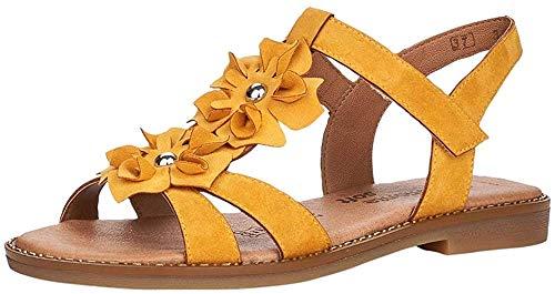 Remonte Mujer Sandalias de Vestir, señora Sandalia con Tiras,Sandalias con Correa,Zapatos de Verano,cómodo,Confort,Plana,Gelb / 68,44 EU / 9.5 UK 🔥