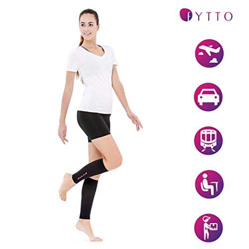 FYTTO 1022 fußlose Kompressionsstrümpfe – Klasse 1 – kniehohe Stützstrümpfe ohne Fuß | medizinische Kompressionsstulpen mit abgestufter Kompression 15 – 20 mmHg | pink | L - 2