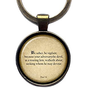 """Peter 58 """"Be sober, be vigilant; because your adversary the devil, as a roaring lion.."""" King James Version KJV Bible Bronze Keychain Key Ring"""