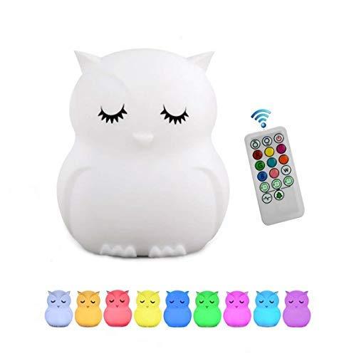 Tianhaixing luz nocturna para niños/adultos, LED Silicona blanda luz nocturna con 9 colores cambiando/USB recargable/control remoto y táctil regulable (Búho grande)