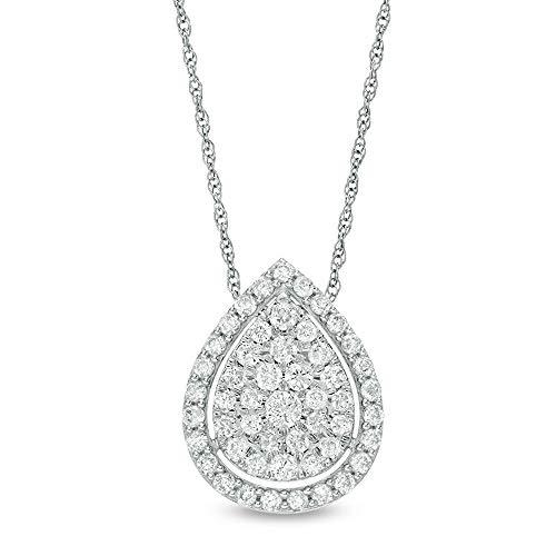 Colgante redondo de 1/2 ct T.W con marco de diamante D/VVS1 en forma de lágrima de 45,72 cm en plata de ley 925 chapada en oro blanco de 10 quilates