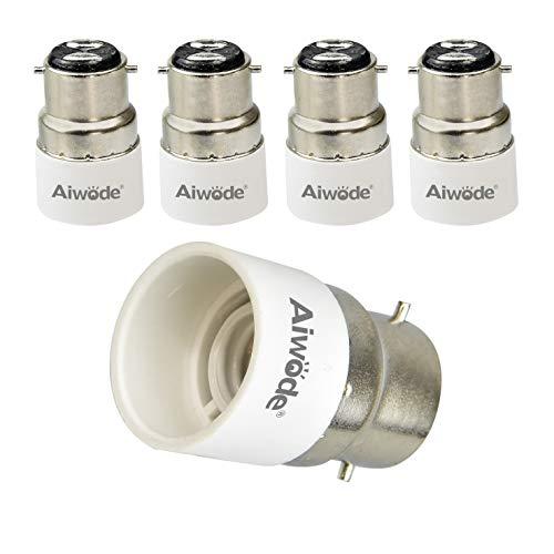 Aiwode B22 vers E14 Convertisseur,Adaptateur de Douille pour Ampoules LED et Ampoules Halogènes, Puissance Maximale 200W, 0~250V, 120 Degrés Résistant à la Chaleur, Lot de 5.