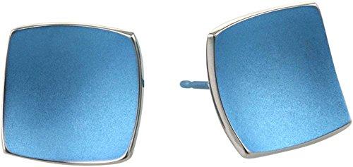 Ti2 Titanium Womens Square Domed Stud Earrings - Aqua Blue