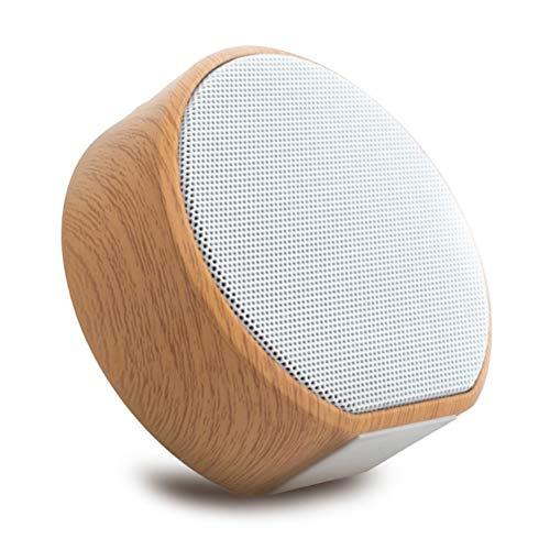 Release Mini Altavoz Bluetooth Inalámbrico Portátil Retro Grano De Madera Audio Bajo Tarjeta TF Aux Teléfono Inteligente Tableta Ordenador Reproductor De Música (Color : White)