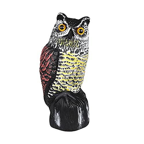 FENGCHUANG Owl Scarecrow Sculpture,Plastic Fake Owl Sculpture with Rotating Head,Outdoor Bird Repellent in the Garden Courtyard,Owl Decoy to Scare Birds Away