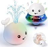 Baby Badespielzeug Wasserspielzeug mit Basisfahrzeug, Whale Spray Induction Schwimmende Baden Spielzeug mit Licht und Musik, Pool Wassersprühspielzeug für ab 2 Jahr Baby Kinder Party Geschenk (Weiß)