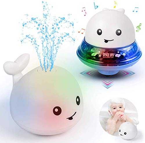 Spray Whale Baby Bath Toys, Whale Induction Spray Water Toy with LED Colorful Light Automatic Induction Sprinkler Bath Toy Bathtub Toys for Toddlers, Bathtime Gift for Kids (White + Space Base