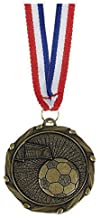Trophy Shack 45mm goud Combo45 voetbal medaille & lint gratis gravure AM908G