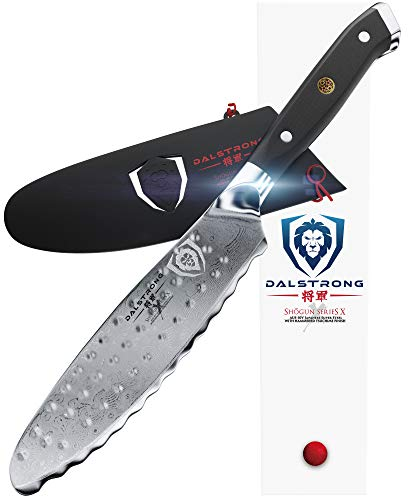 "DALSTRONG- Ultimate Utility Knife - Shogun Series X - Damascus - 6"" Sandwich Knife and Spreader- Japanese AUS-10V Super Steel - Vacuum Treated - Guard Included"