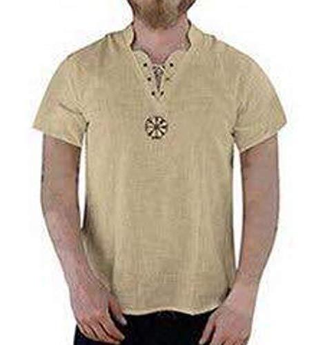 Mannen linnen middeleeuwse tuniek V-hals Shirt korte mouw Pirate Lace Up Shirt kostuum Grandad Shirt
