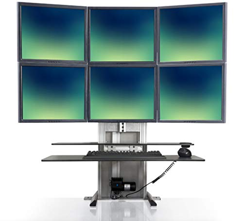 Stand Steady ErgoTech One Touch Electric Standing Desk Converter | Monitor Arm/Mount | Favorite Stand Up Desk of Stock Traders, Graphic Designers, More!(6 Monitor, 3 Over 3)