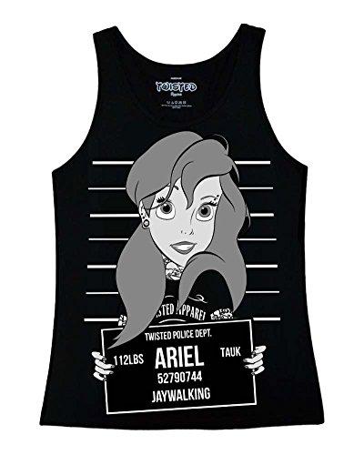 Twisted Camiseta de tirantes para mujer, diseño de fotografía policial de Ariel de La Sirenita, color negro, tallas: S a XL Negro negro medium