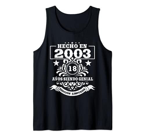 18 Años Cumpleaños Regalo Chico Chica Vintage 2003 Camiseta sin Mangas
