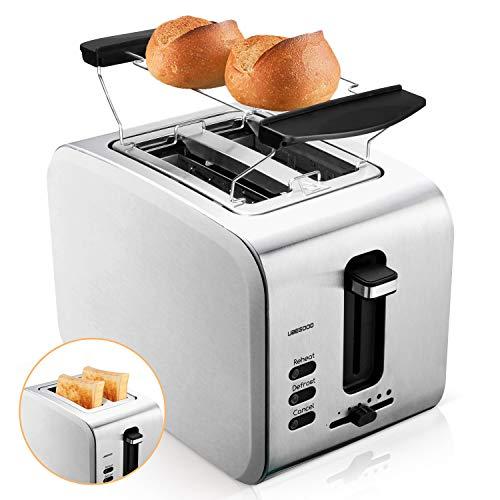 UBEGOOD Toaster, Edelstahl Toaster 2 Scheiben Toaster Doppelschlitz Toastautomat mit Abnehmbare Krümelschublade, 6 Einstellbare Bräunungsstufe, Auftau, Aufwärmfunktion und Abbrechen Funktionen
