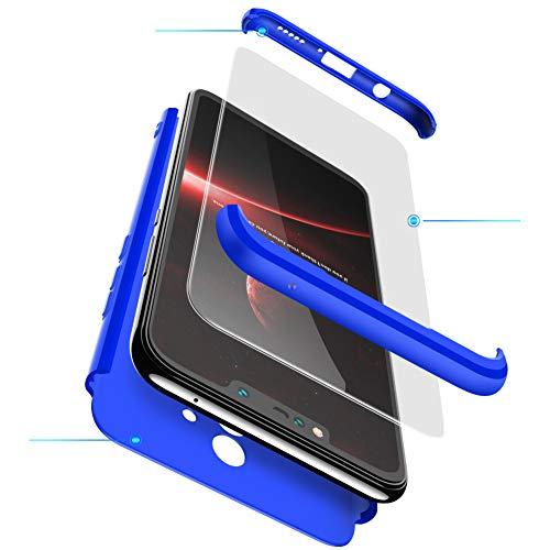 Funda HuaWei Mate 20 Lite Carcasa HuaWei Mate 20 Lite con [ Protector de Pantalla de Vidrio Templado ] 3 en 1 HuaWei Mate 20 Lite Funda Protectora 360 °complete package protection - Azul