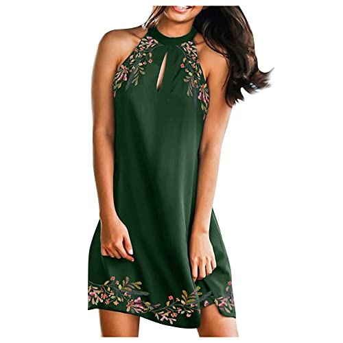 Damen Sommerkleid, Knielang, Sexy Cocktailkleid für Damen, Hochzeitskleid, Strandkleid, Ärmellos, A-Linie Boho Kleid T-Shirt Bluse Casual Tops Minikleid