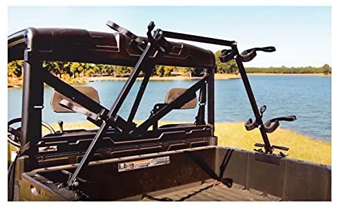Great Day Quick-Draw Sporting Clays UTV Gun Rack - 4 Gun Model - For UTVs With 36-60in Bed Width - Aluminum Frame - Black Powder-Coated Finish, QD804-SC