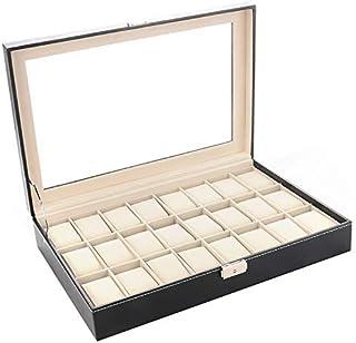 AYAY 24 Pcs Watches Jewelry Storage Box Organizer Case Black