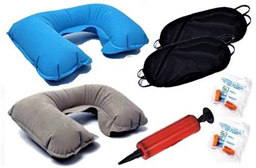 2 pièces OREILLER DE VOYAGE GONFLABLE U-SHAPE (bleu clair + gris) complet avec 2 pièces 3D masque de couchage, 2 prises d'oreille et 1 unité de pompe à main portable par IVALLEY