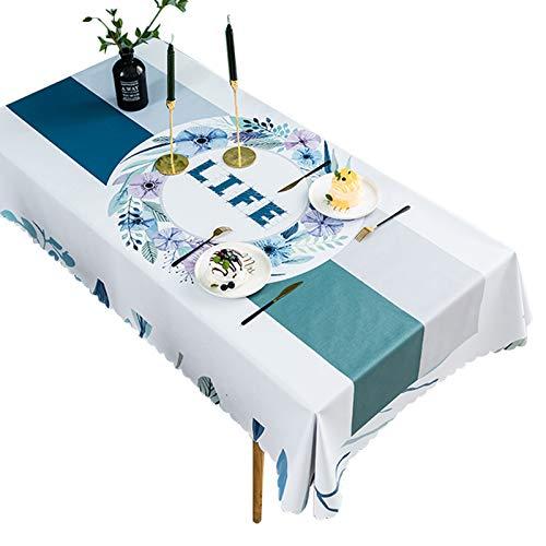 LKH Mantel Impermeable Rectangular, Mantel De Plástico Reutilizable, Cubierta De Mesa Decorativa para Uso En Interiores Y Exteriores(Color:Segundo,Size:120×170cm)