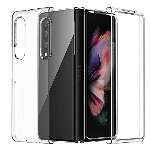 Foluu Galaxy Z Fold 3 Hülle, für Samsung Galaxy Z Fold 3 Handyhülle Klar, Premium Dünn Transparent Hard PC mit Rutschfest Handgriff Schutzhülle für Samsung Galaxy Z Fold 3 5G 2021
