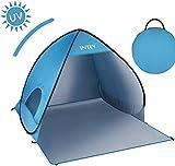 INTEY Tente de Plage en Forme Coquillage Bleu ou Jaune, 2 ou 3 Personnes Abri de Plage Portable Escamotable avec UPF50+ Anti UV, Chevilles pour Fixation et Sac de Transport pour Camping Inclus (Bleu)