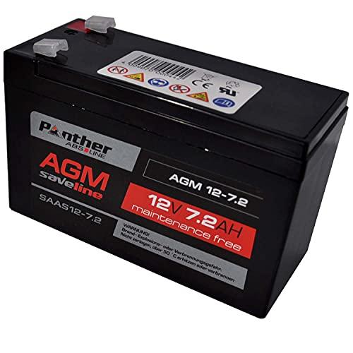 Panther AGM Batterie 12 V 7,2 AH - für E-Start Rasenmäher und Kehrmaschinen Elektrowerkzeuge [ABS-saveline] Blei Gel Akku wartungsfrei VRLA - Batterie für Kinderautos Pocketbikes Elektrospielzeug