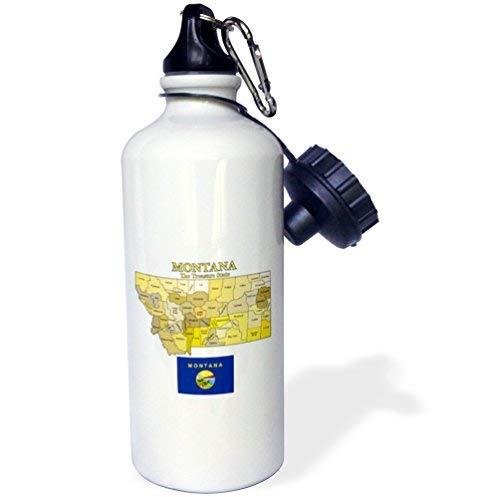 ANGELA G Kaart En Vlag Van Montana Met Staat Bijnaam Alle provincies Gelabelde Sport Water Fles, Multi kleuren, 21 oz