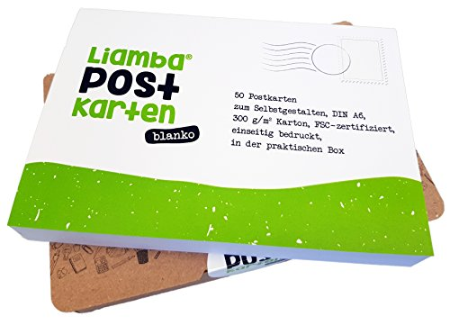 Liamba Ansichtkaarten blanco | 50 DIN A6 ansichtkaarten wit om zelf vorm te geven in de praktische doos van gerecycled papier, 300 g/m² FSC-gecertificeerd en in Duitsland gemaakt