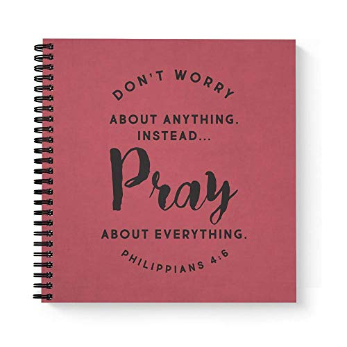 """Softcover Pray 8.5"""" x 8.5"""" Religious Spiral Prayer Journal/Notebook, 120 Prayer Journal Pages, Durable Gloss Laminated Cover, Black Wire-o Spiral. Made in The USA"""