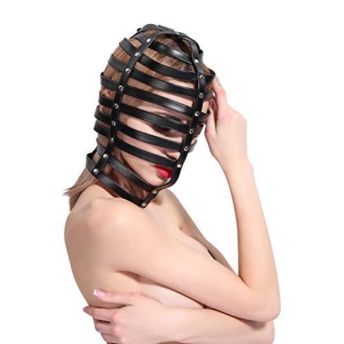 UYTE SM Bondage M-Bittet, Erotik Gesicht Má-sk Kopfbedeckung Horizontal-Streifen Leder Bondage Full Wrap Kopfbedeckung M-Bittet, für Paare