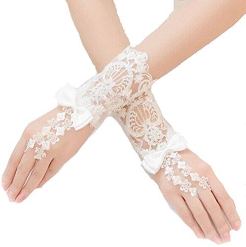 Unbekannt Brauthandschuhe fingerlos kurz Weiß Ivory Braut Handschuhe Perlen Hochzeit Spitze Stulpen (Ivory/Elfeinbein)