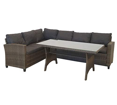 KMH, große naturbraune Polyrattan Gartensitzgruppe Lounge Esstisch Sofa Hannover inklusive Auflagen und Kissen (#106117)