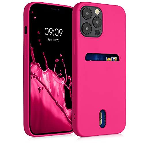 kwmobile Cover Compatibile con Apple iPhone 12 PRO Max - in Silicone Morbido - Custodia con Scomparto Porta Carte Biglietti - Back Case Rosa Shocking Matt