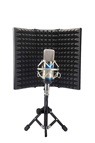 3T6B Copertura per microfono insonorizzata, pieghevole con staffa triangolare, schiuma fonoassorbente per microfono, accessori di registrazione in studio