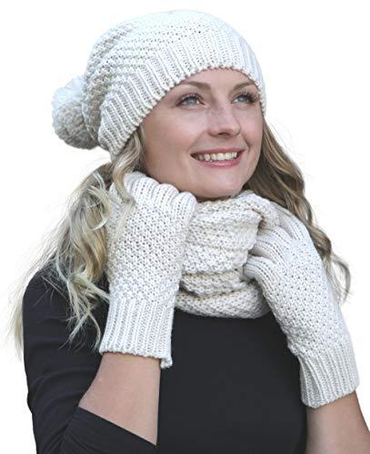 Hilltop Winter Kombi Set aus Winter Schal, passender Strickmütze/Beanie und wahlweise Handschuhe oder Handwärmer, 3-tlg, versch. Farben, Winterset Farbe/Zusammensetzung:Creme mit Handschuhen