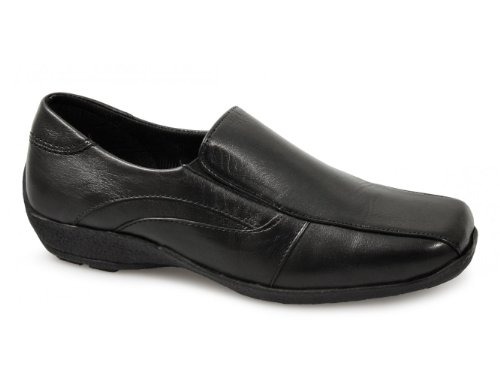 DAWN Ladies Soft Leather Wedge Loafers Black