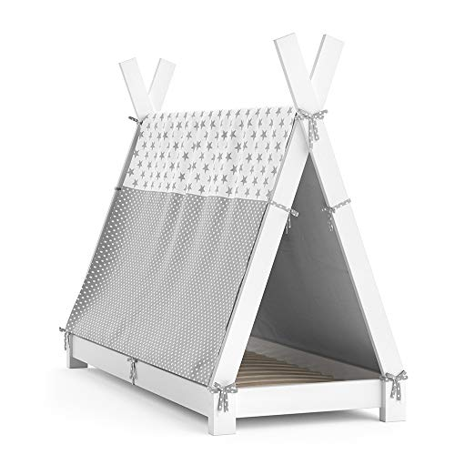 VitaliSpa Kinderbett Tipi Hausbett Indianer Bett Kinderhaus Massivholz Zelt Holz (Weiß, 70 x 140 cm + Überwurf)