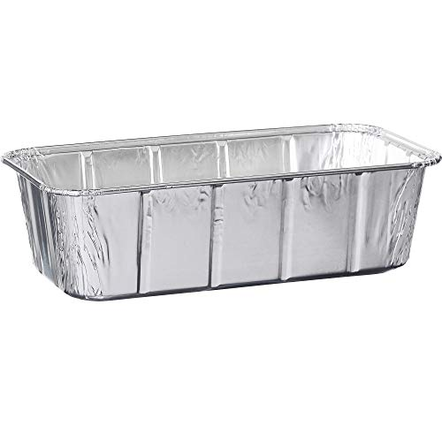 """Plasticpro [2 Lb 50 Pack] Disposable Loaf Pans Aluminum Tin Foil Meal Prep Bakeware – Cookware Perfect for Baking Cakes, Bread, Meatloaf, Lasagna 2 Pound 8.5"""" X 4.5"""" X 2.25"""""""