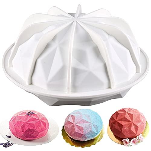 Silikonform Kuchenform, Runde Diamant Kuchen Form 3D-Backform Diamant 3D Silikon Kuchen Formen Geometrische Platz für Backen Dessert Kunst Mousse