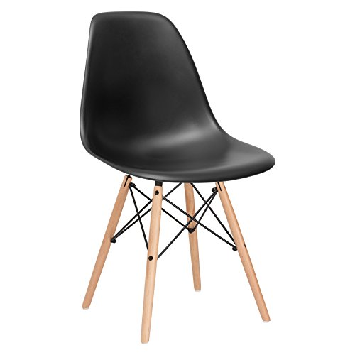 Poly and Bark Modern Mid-Century Side Chair with Natural Wood Legs for Kitchen, Living Room and Dining Room, Harbor Grey