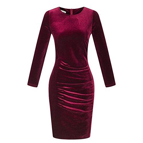 MFFACAI Gold Samtkleid, dünne Lange Ärmel Rundhals Gold Samt Tasche Hüfte einzigen Farbe Kleid, S