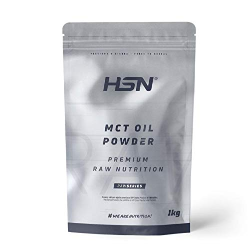 Aceite MCT en Polvo de HSN | Triglicéridos de Cadena Media procedentes del Coco, Ideal para la Dieta Keto, Fuente de Energía | Vegano, Sin Gluten, Sin Lactosa | 1000 gr