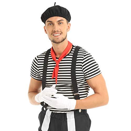 IEFIEL Adulte Déguisement Homme Femme Français MIME Artiste Cirque Jeu de Rôle Costume Halloween Carnaval Cosplay Tenus Fancy Dress S-XXL Noir XX-Large