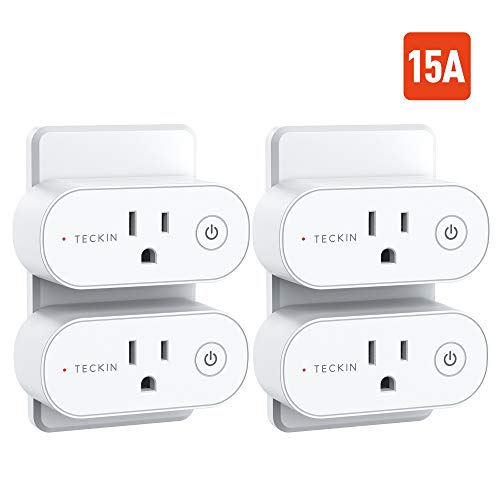 Smart Plug TECKIN 15A WiFi Outlet Work with Alexa, Echo & Google Home, Smart Home with Remote Control, Schedule and Timer Function, Support High Power Appliance, FCC ETL Certification, 4 Pack