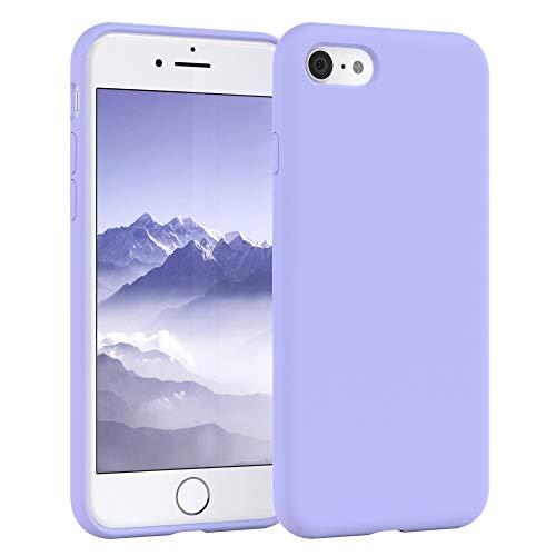 EAZY CASE Premium Silikon Handyhülle kompatibel mit Apple iPhone 8/7 / SE (2020), Slimcover mit Kameraschutz und Innenfutter, Silikonhülle, Schutzhülle, Bumper, Case, Hülle, Softcase, Lavendel, Lila