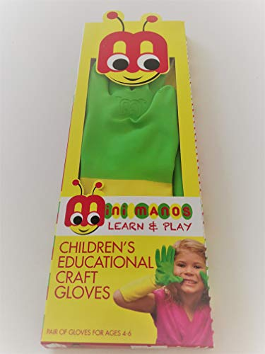 Mini Manos Learn & Play Kids Gloves ; Age Group 3-5; Fit - Palm Width 2.5 to 2.75 Inch ; Rubber Gloves 1 Pair
